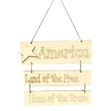 1 шт. деревянный подвесной знак День Независимости прямоугольник подвесное ремесло декоративное украшение предмет интерьера