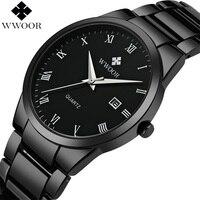 WWOOR Top marka luksusowe mężczyźni ze stali nierdzewnej wodoodporne zegarki sportowe męskie kwarcowy analogowy data zegar mężczyzna czarnym paskiem Wrist Watch w Zegarki kwarcowe od Zegarki na