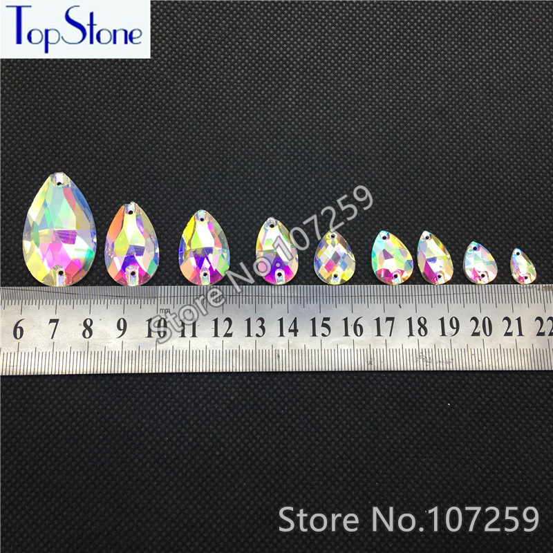 Top Quality DR Sew On Rhinestones Crystal AB Clear Flat Back 2 Holes  Teardrop Sewing Glass Crystal stone Wholesale-in Rhinestones from Home    Garden on ... 87c3348f4c45