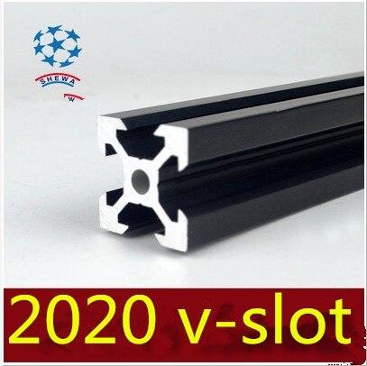 2020 Aluminum Extrusion Profile European Standard 2020 V-slot Black Length 150mm Aluminum Profile Workbench 1pcs