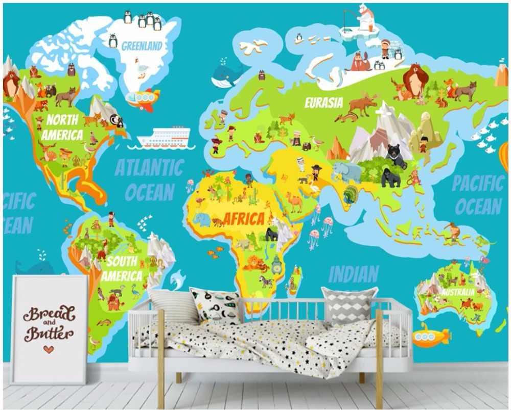 Пользовательские фото 3d обои мультфильм мир животных карта детская комната