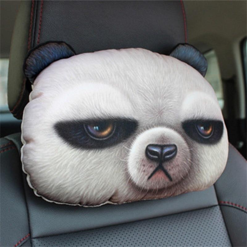 CHIZIYO Plush-Cushion Head Neck-Rest Car-Seat-Covers Without-Filling Panda 3D Cat Dog