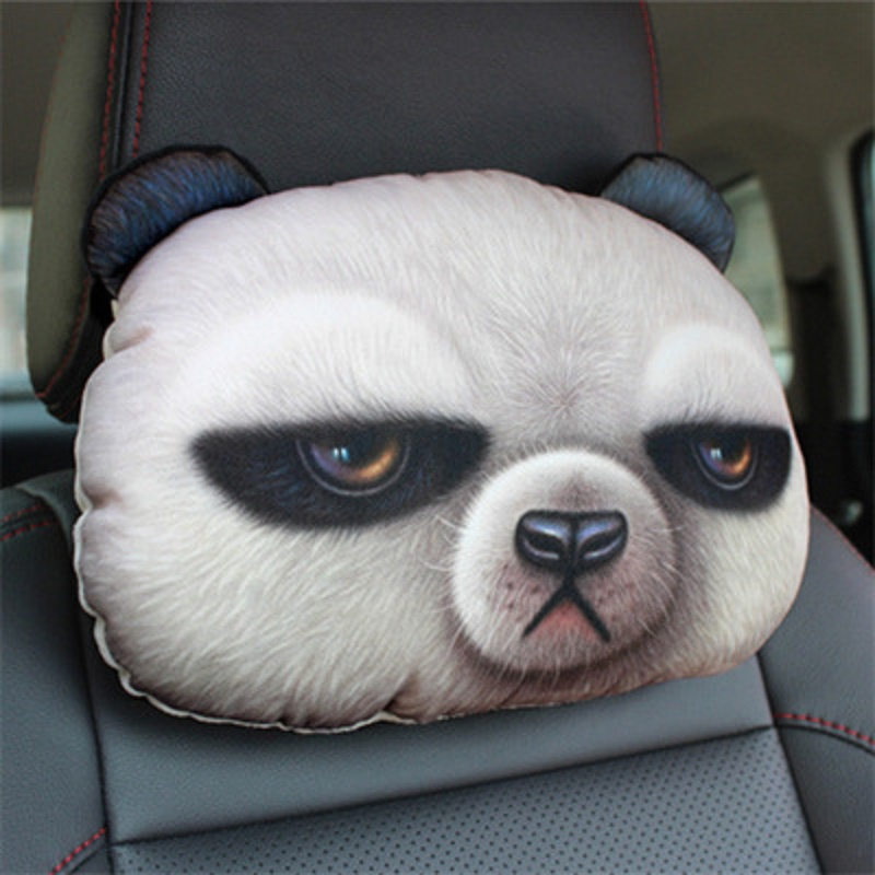 Lovely 3D Cat Dog Panda Rabbit Printing Animals Head Car Seat Covers Neck Rest Plush Cushion Safety Headrest Without Filling fishtail braid with hair accessory