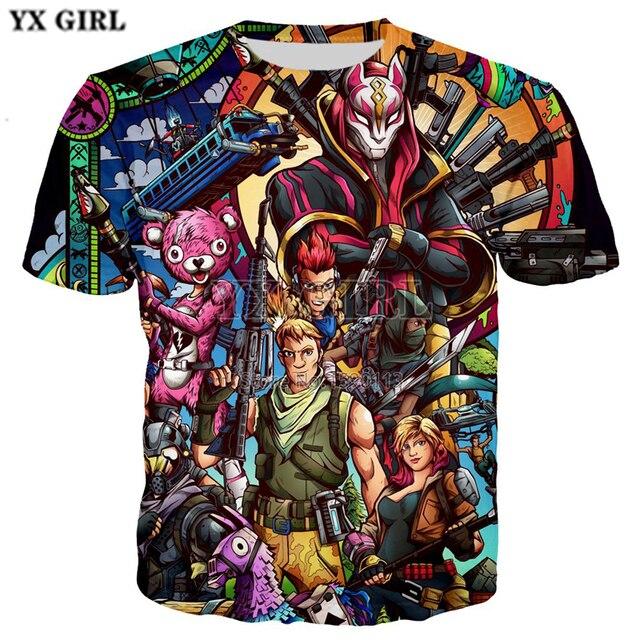 YX GIRL New Fashion T-shirt Men women Fortni Shirt Funny Game Print Hip Hop Fitness short sleeve Unisex Tee Tops Brand Clothing
