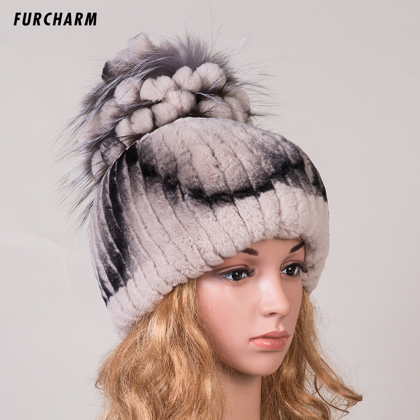 Women Genuine Rex Rabbit Fur Skullies with Silver Fox Fur Flower Pom Poms Top Beanies Middle Elastic Fur Cap Fur Hat for Winter skullies