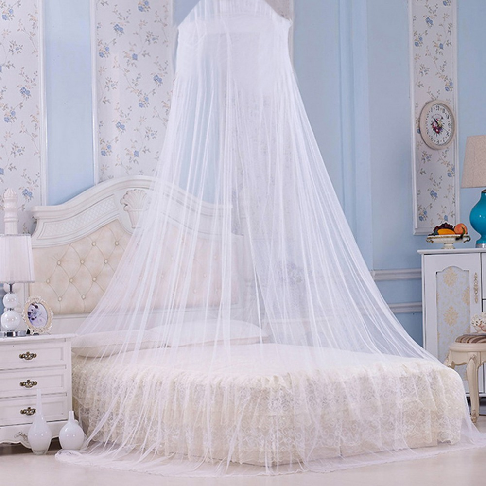 BT/_ Elegant Round Lace Curtain Solid Dome Bed Canopy Netting Princess Mosquito N