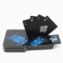 2017 New HOT Upgraded Metal Box Plastic PVC Black Poker Waterproof Playing Cards Collection Gift Durable Poker, Free Shipping