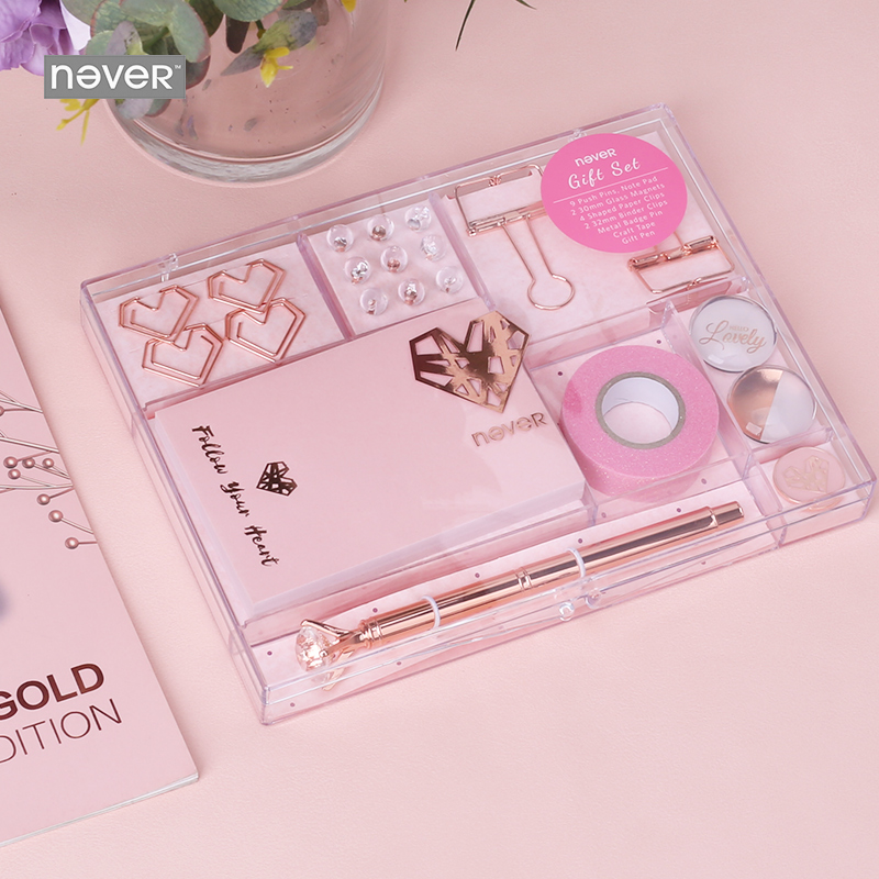 Never Rose Gold Series Stationary Set Metal Pen Memo Pad Push Pins Washi Tape Paper Clips School Office Supplies Gift Stationary-in Stationery Set from Office & School Supplies