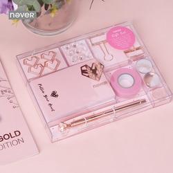 Nunca Rose Gold Series conjunto estacionario Bolígrafo De Metal Bloc de notas Push Pins Washi Tape Clips de papel escuela regalo de artículos de oficina estacionario