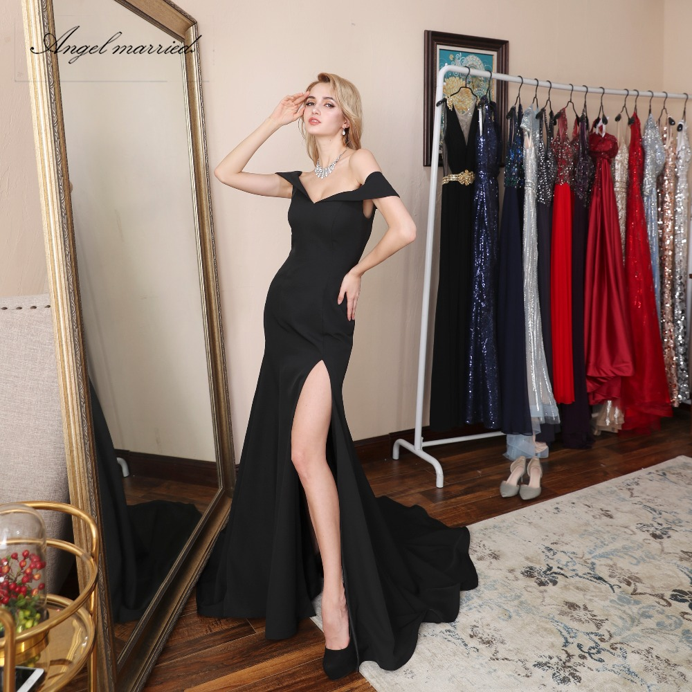 Angel married simple black Evening Dresses with slit New mermaid ...