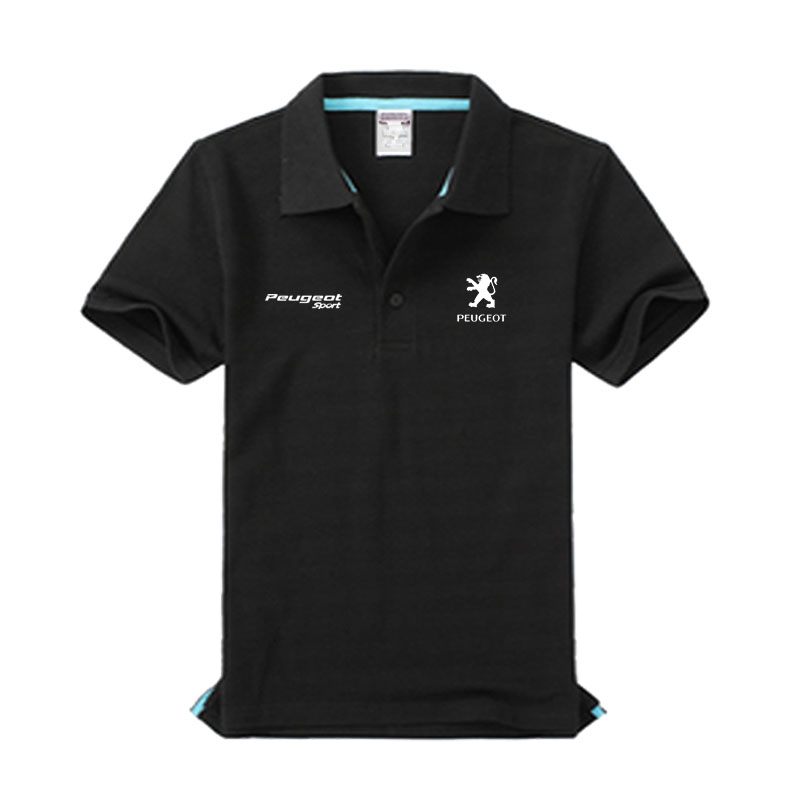 Brand clothing Peugeot logo   Polo   Shirt Casual solid male Peugeot   polo   shirt Short Sleeve High quality