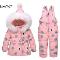 Loozykit 2019 Winter Children Clothing Set Girl Warm Parka Down Jacket For Baby Girl Clothes Children's Coat Snow Wear Kids Suit