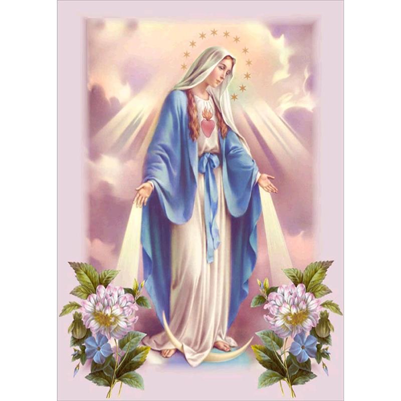 Религиозная алмазная живопись «Дева Мария» 5D, вышивка своими руками, Алмазная мозаика, аксессуары для украшения