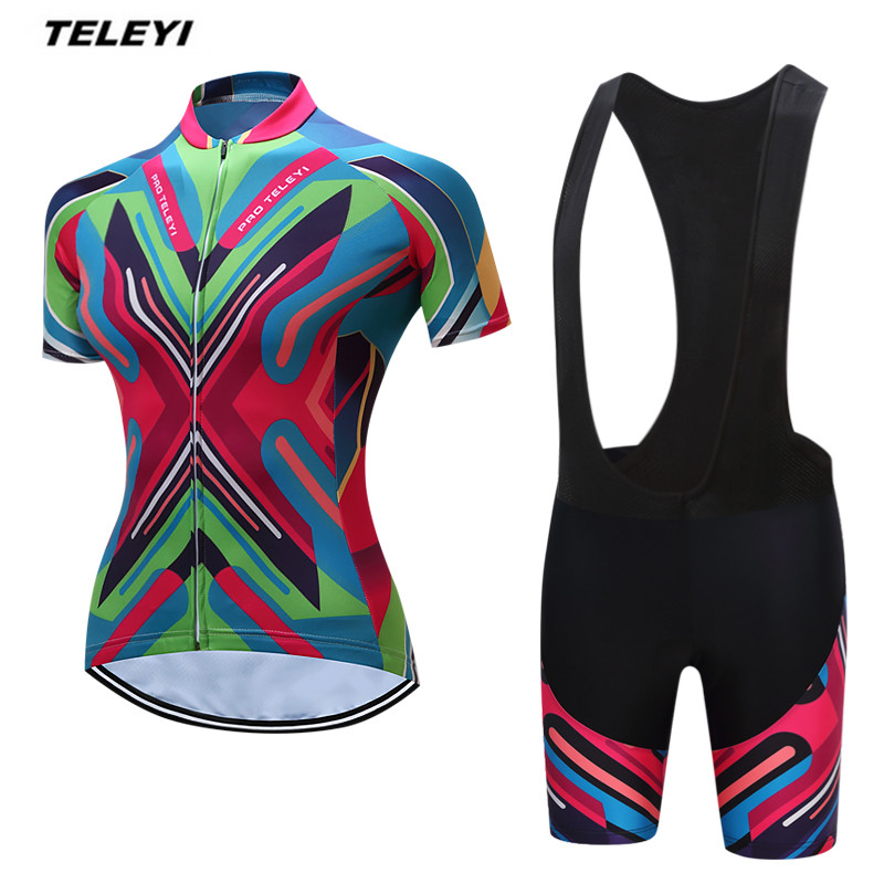 2017 Colorful Pro Cycling jersey Set Women Bike clothing clothes Girl Ropa Ciclismo MTB bicycle jersey Top Bib Padded Shorts
