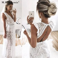 M H Artemis Vintage Backless Sexy Deep V Neck Transparent Lace Dress Hollow Out Long Dress
