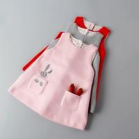 Cute Rabbit Baby Girls Princess Dress Sleeveless Autumn Winter Dresses For Toddler 2 8 Yrs Children