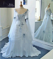 Vintage Celtic Wedding Dresses White and Pale Blue Colorful Medieval Bridal Gowns V Neck Corset Long Bell Sleeves