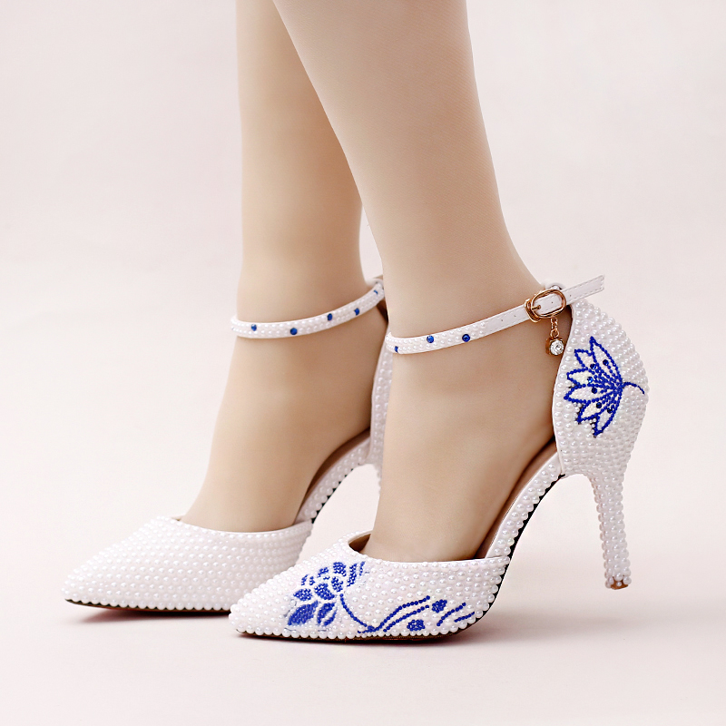 White pearl pointed toe weddig shoe ultra high heels party shoes blue  rhinestone flower bridal ankle strap shoes Summer sandals 3813306c5e6c