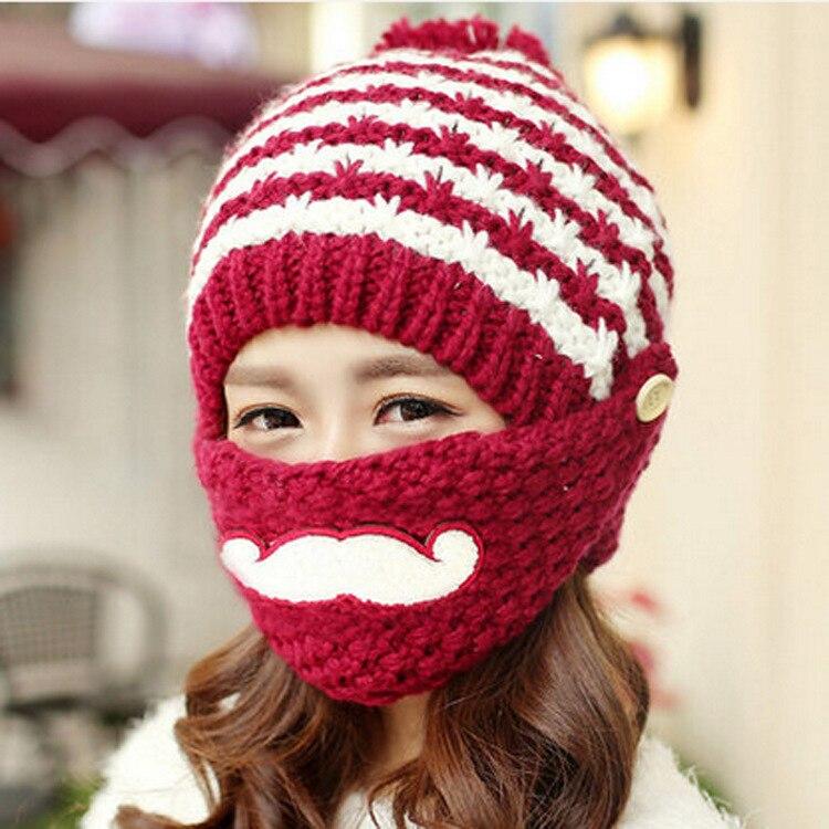 Beard Hats Hobo  Handmade Caps  Women Mask Beanies 2016 Fashion New Women Hats Autumn Winter Skullies Beanies Knitting Warm Hat брюки котмаркот штанишки звездное небо