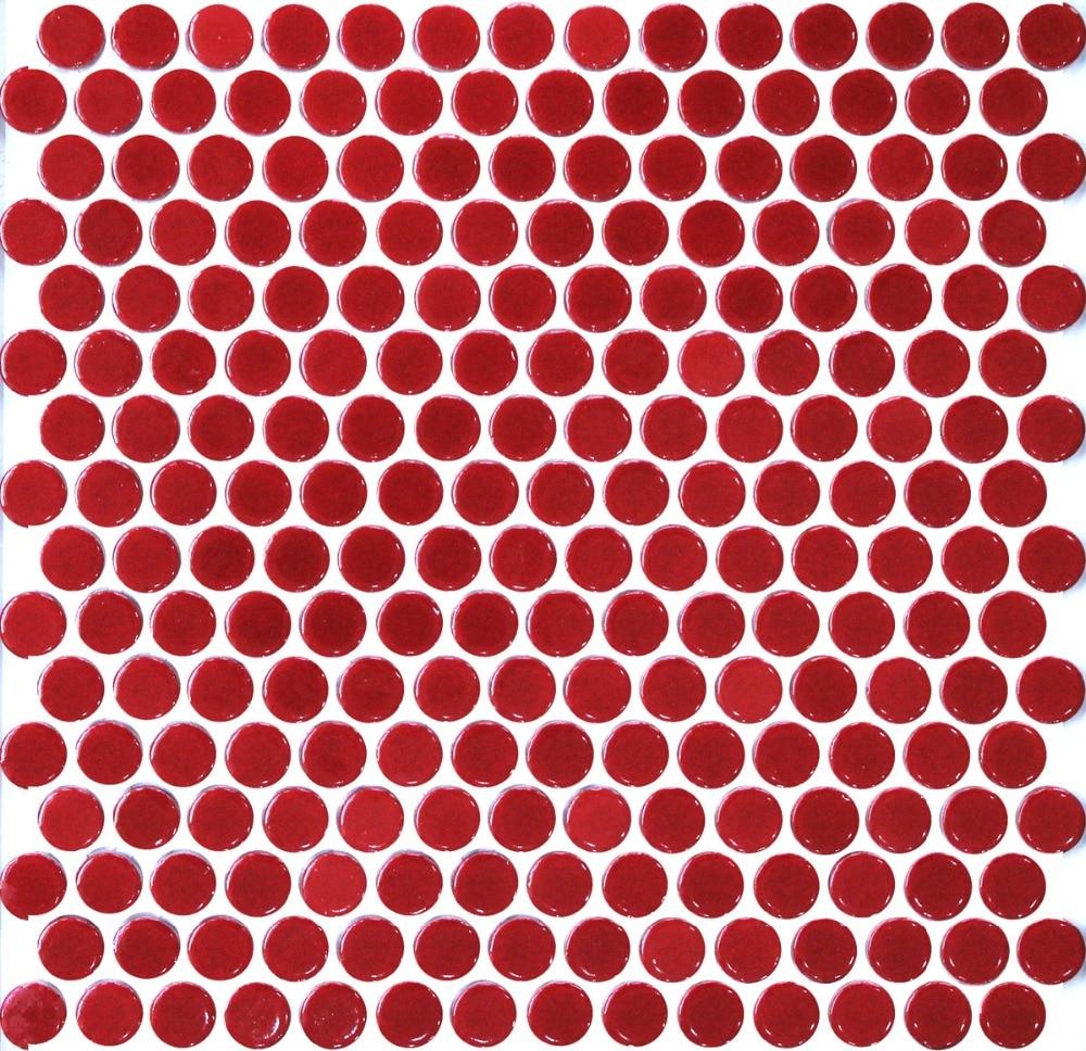 11pcs red penny round ceramic mosaic tile kitchen backsplash bathroom wall shower hallway wallpaper border tiles home decoration
