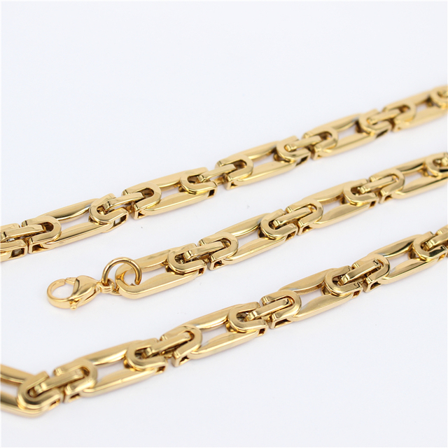 Gold Plated Stainless Steel Necklace Men Jewelry Wholesale Free Shipping New Trendy Chunky  Chain Necklace HY124