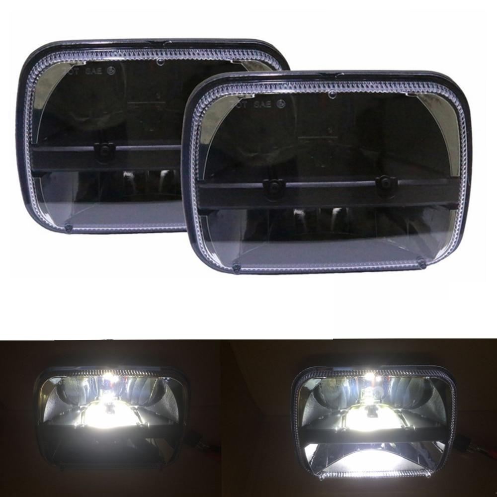 7x6 Inch LED Headlights Bulb FIT for 86 95 Jeep Wrangler Rectangular Freightliner Peterbilt International Mack