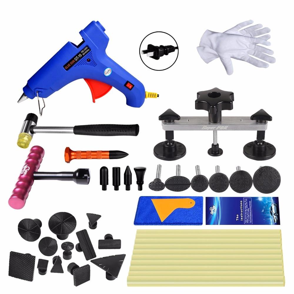 Super PDR Paintless Car Dent Repair Tools glue Puller glue gun dent tabs 20pcs Red T-bar dent removal tools kit
