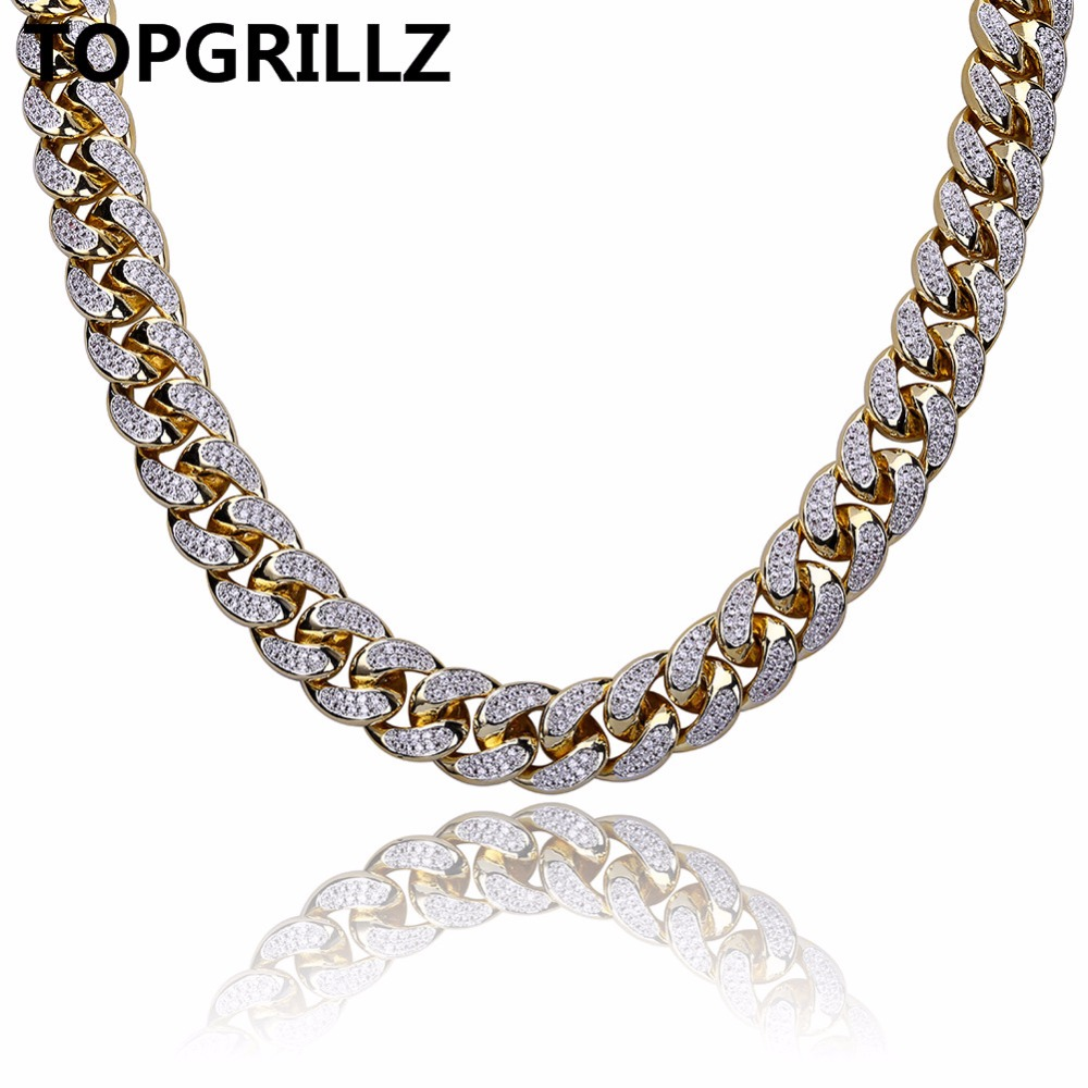 TOPGRILLZ Hip Hop Men Jewelry Necklace Copper Iced Out Gold Color Plated Micro Pave CZ Stone 18mm Chain Necklaces 18inch 22inch