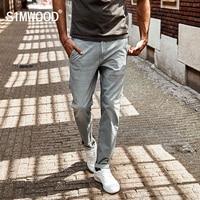 SIMWOOD 2017 New Spring Summer Spray Painting Striped Jeans Men Skinny Thin Fashion Slim Fit Denim