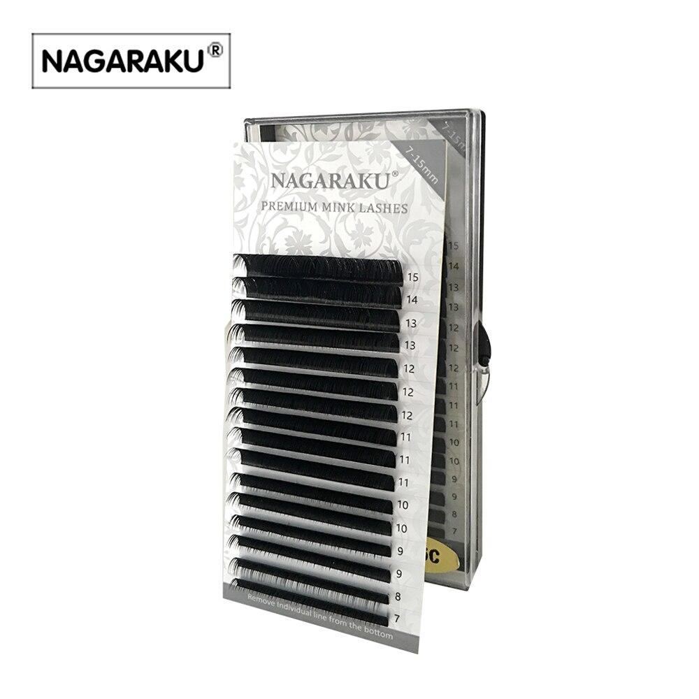 NAGARAKU 16rows/случае 7 ~ 15 мм смесь premium натурального синтетического норки Индивидуальный наращивания ресниц макияж реснички профессиональный