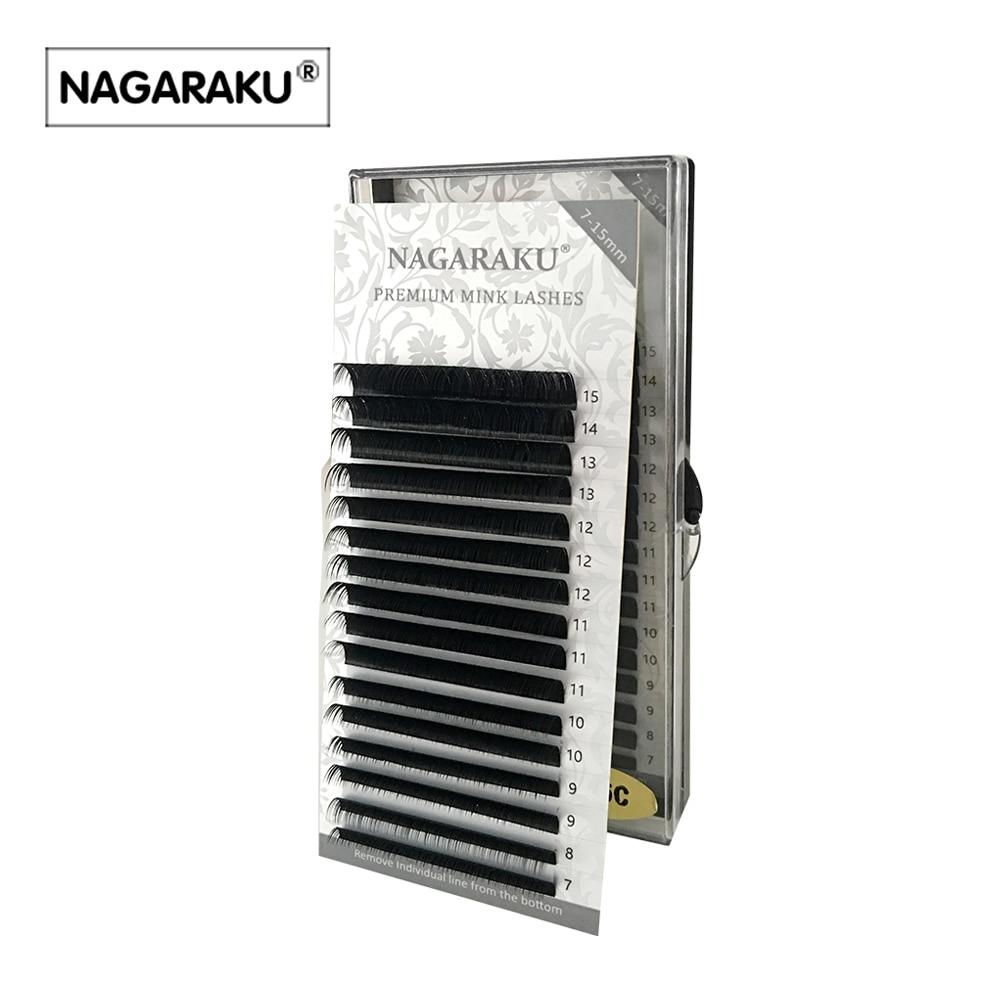 NAGARAKU 16rows/case 7~15mm mix premium natural synthetic mink individual eyelash extension makeup cilia professional