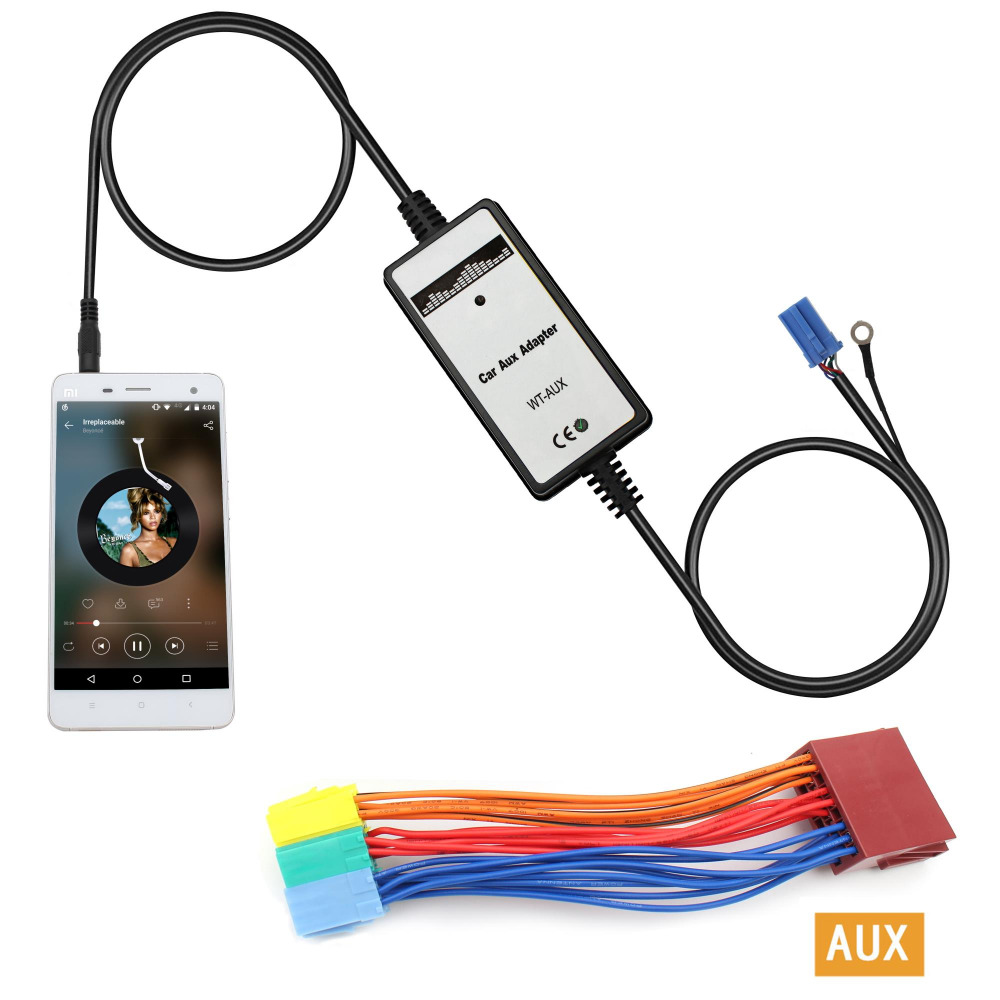 Moonet Car Audio MP3 AUX Adaptador 3.5 mm Interfaz AUX entrada CD Changer para Audi A2 A4 A6 A8 AllRoad TT 20Pin KB003