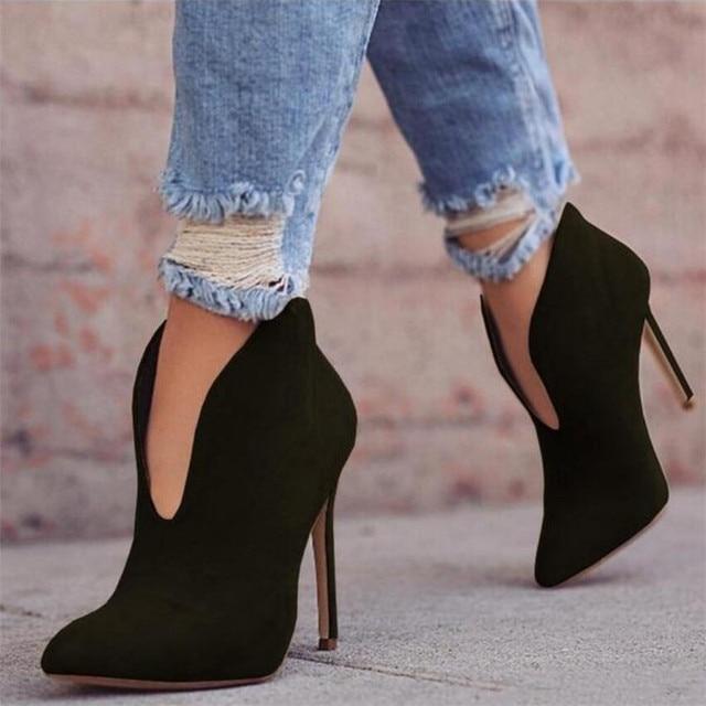 Mhysa 2018 Vrouwen Hoge Hakken Puntige Stiletto Hak Mode Laarzen Winter Herfst Mode Sexy enkellaarsjes grote maat 34- 43 S818