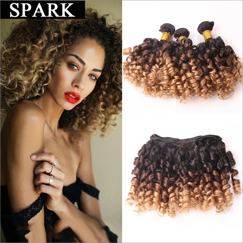 7A Ombre Brazilian Virgin Hair Spiral Curly 3/4 Human Hair Bundles Curly Weave Human Hair Kinky Curly Wet Jerry Curly Women Wigs