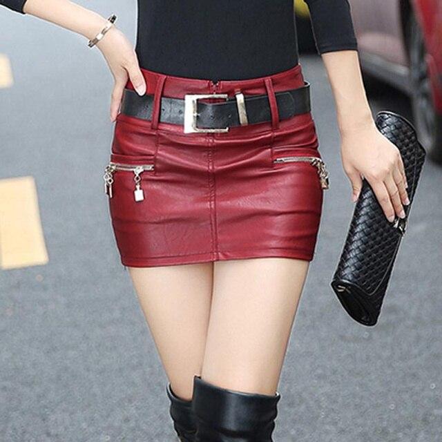 5b5468f5cd Nueva moda Slim era delgada cadera paquete mujeres Falda corta de cuero de gran  tamaño falda