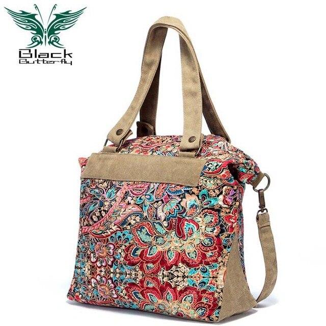 Black Erfly Fashion Canvas Handbags Women Shoulder Bags Casual Travel S Bolsos Phoenix