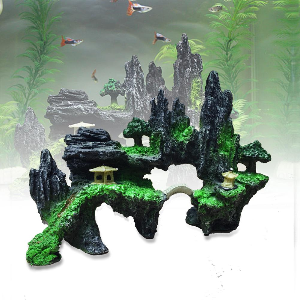 Mountain view aquarium ornament tree rock cave stone fish for Aquarium cave decoration