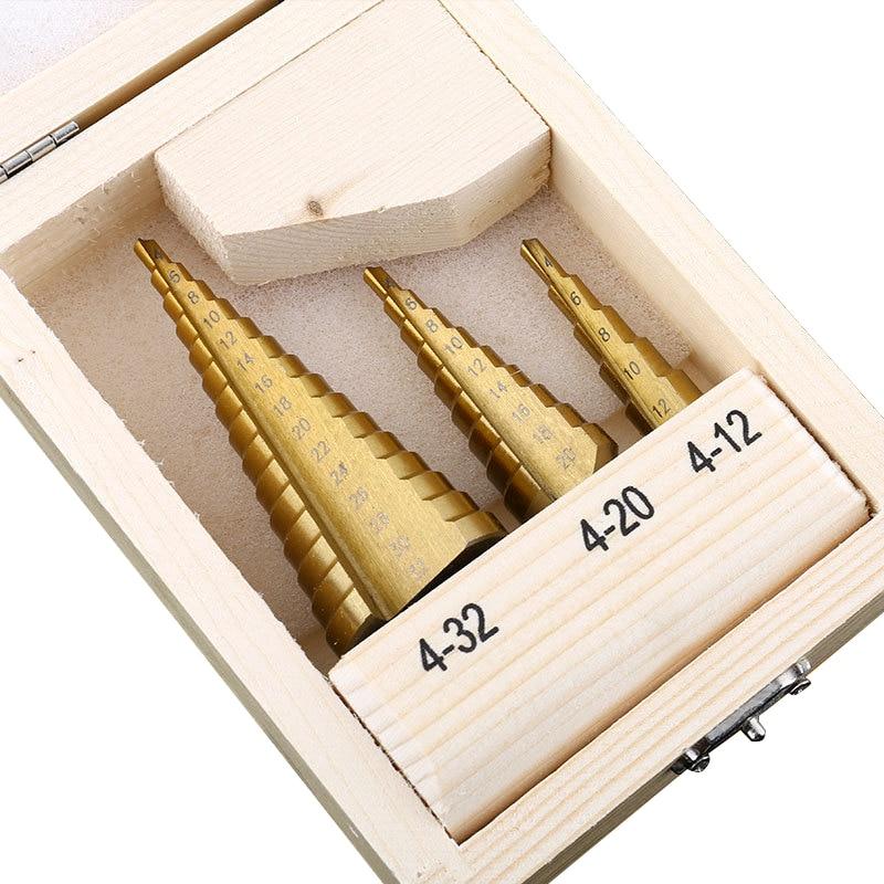 HSS paso Drill Bits Hex Shank paso broca taladro Set 4-12mm 4-20 MM 4-32mm espiral métrica Metal cono escalonado perforación