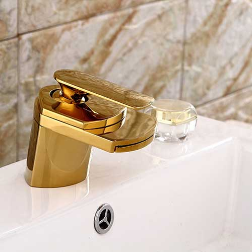 New Simple Style Unique Shape Home Decoration Single Handle Bathroom Sink  Waterfall Mixer Faucet Tap Gold