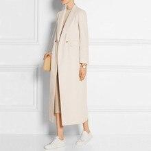 Новая мода Осень Зима длинное шерстяное пальто Женская Повседневная двубортная шерстяная Верхняя одежда кашемировый Тренч пальто размера плюс