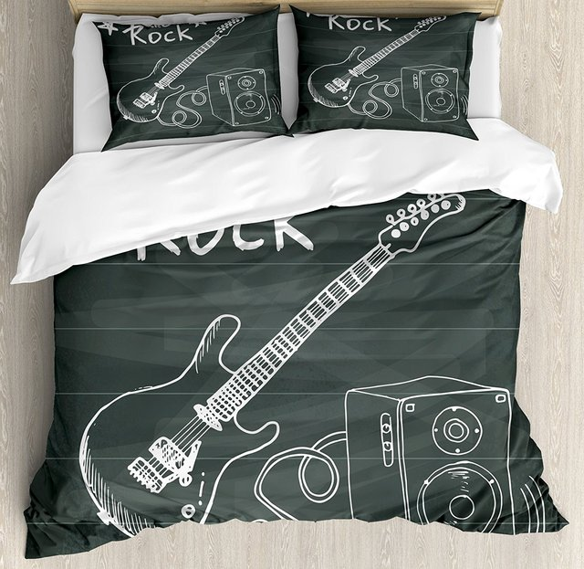 Guitar Duvet Cover Set Love The Rock Music Themed Sketch Art Sound Box And  Text On