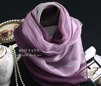 Purple Gradient Hangzhou High grade Silk Pashmina Thin Soft Summer Beach Scarf Shawl wholesale women in spring Bohemian scarves