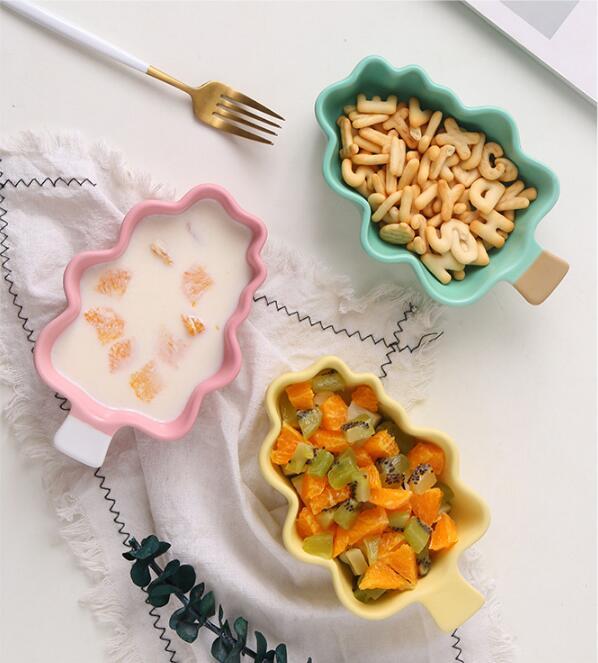 High Quality Children's Bowls Ceramic Tableware Christmas Tree Modeling Baking Bowls Dessert Plate Fruit Bowl breakfast Plate