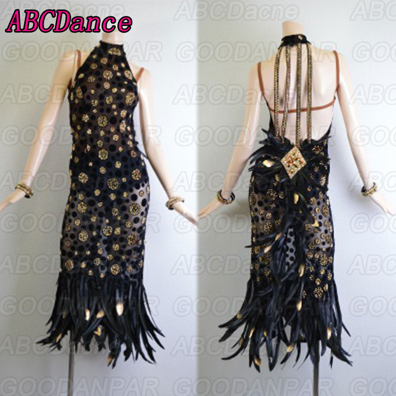 Latin Dance Dress Women Sexy Black Long Dress For Latin Dancing,tango Dress,plume Latin Dance Dress