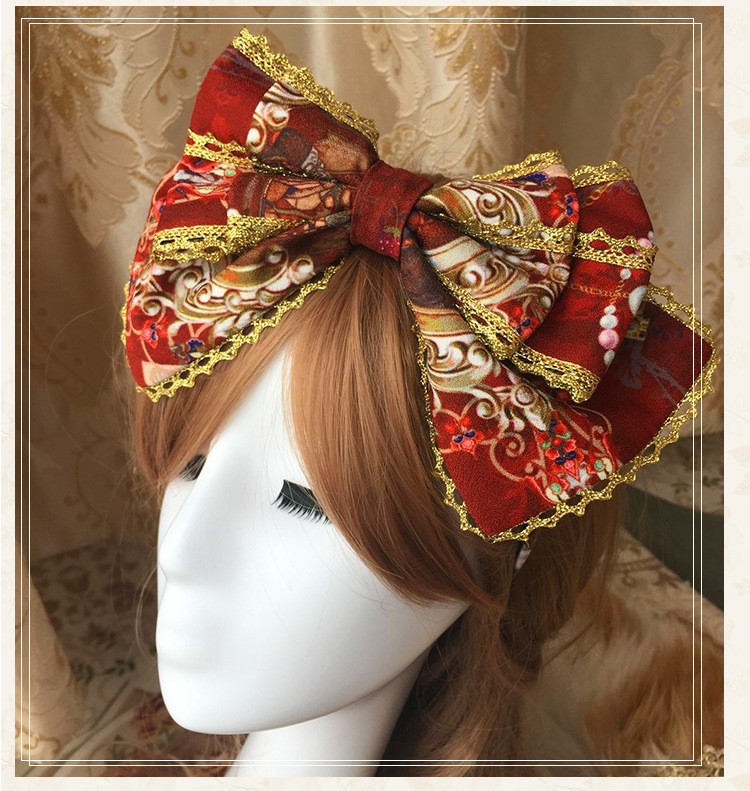 3 Colors Lolita Hair Accessory Gold Lace Big double Bowtie Vintage Princess Cos Royal High quality Handmade Hairbands Red