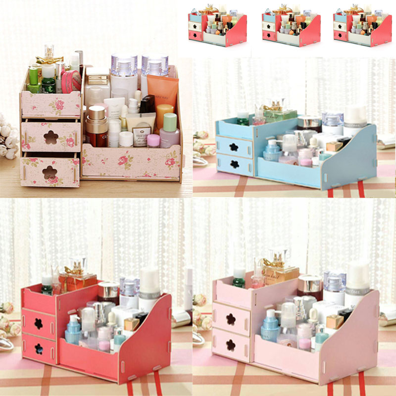 Multi-grid Wood Makeup Storage Box Container Drawer Makeup Organizer Drawer Desk Sundries Container case