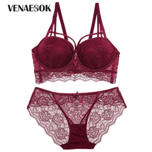 Image 4 - New Europe Girl Sexy Underwear Set A B C Cup Push up Bra And Panty Sets Brand Green Lace Lingerie Set Women Deep V Brassiere