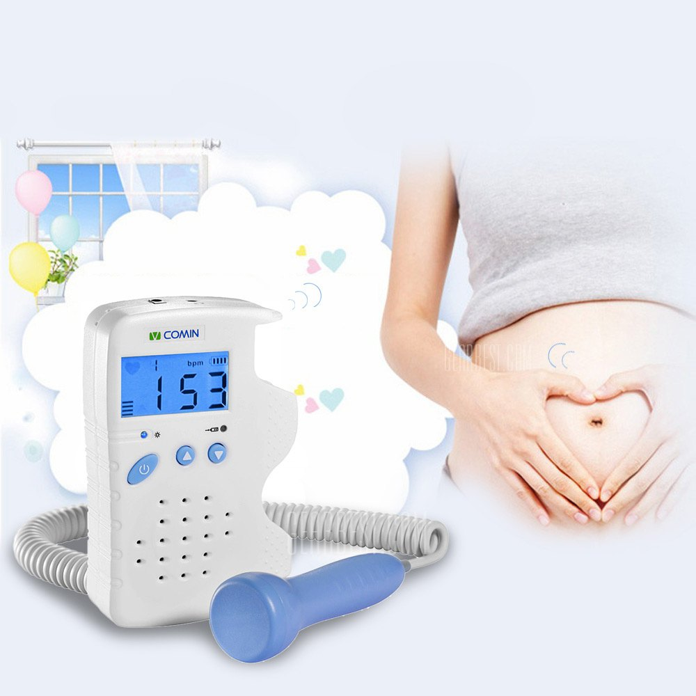 VCOMIN 200D Fetal Doppler Detection Device Home Use Fetus LCD Screen Baby Heart Rate Monitor with Rechargeable Battery