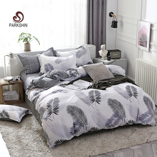 ParkShin Flat Sheet Striped Bed Linen Set Bedspread Nordic Bedding Decor Double Queen King Leaf Home Textiles Duvet Cover Se