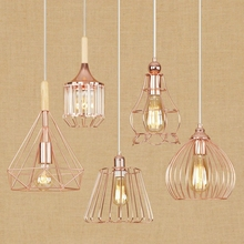 Современный Креативный Ретро покрытие с ионным напылением из розового золота кованая железная птичья клетка с светодиодный E27 Edison led подсветка для кафе подвесная прямоугольная лампа